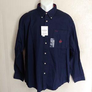 Bugle Boy 90's Vintage Navy button up shirt XXL